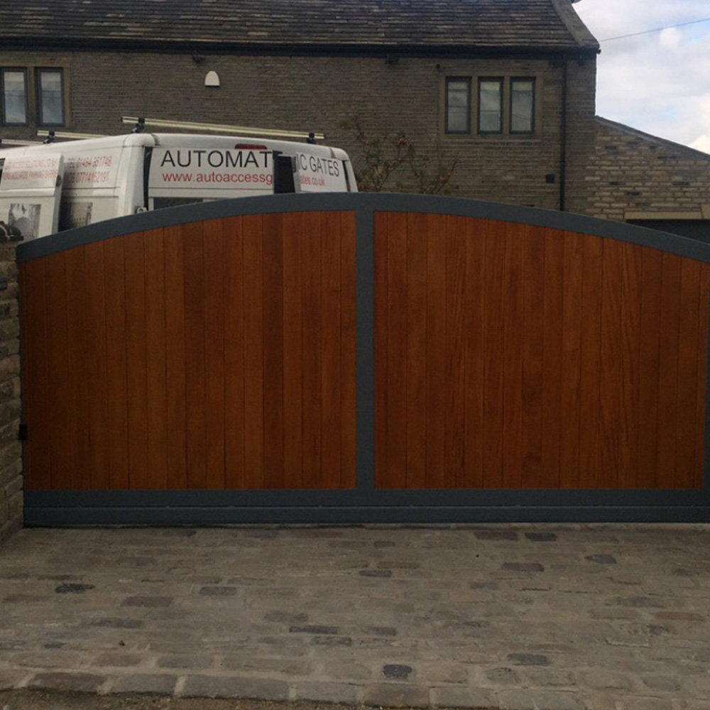 Wrought iron timber infill cantilever gate