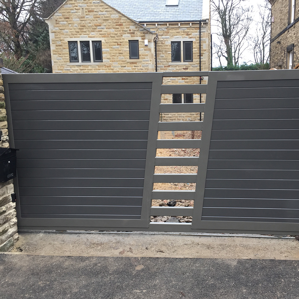 steal frame timber infill ( Accoya ) track sliding gate